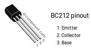 Pinout of BC212 transistor
