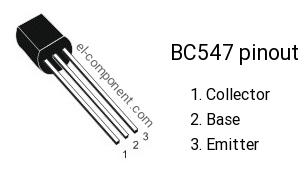 Pinout of BC547 transistor