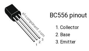 Pinout of BC556 transistor