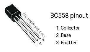Pinout of BC558 transistor