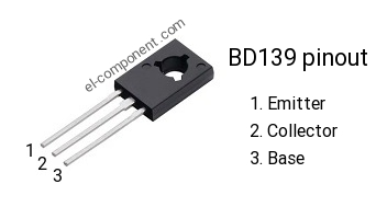 BD139 n-p-n transistor complementary pnp, replacement, pinout, pin ...