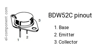 Bdw52c datasheet, equivalent, cross reference search. Transistor.