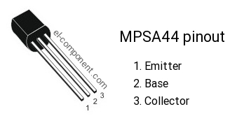 MPSA44 npn transistor complementary pnp, replacement, pinout, pin  configuration, substitute, marking MPS A44, equivalent smd, datasheet