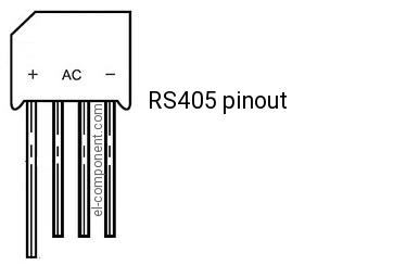 5621231894e RS405 Bridge Rectifier replacement, pinout, specs, dimension ...